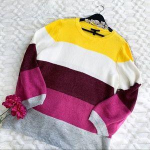 Lane Bryant Striped Pullover Sweater in Purple